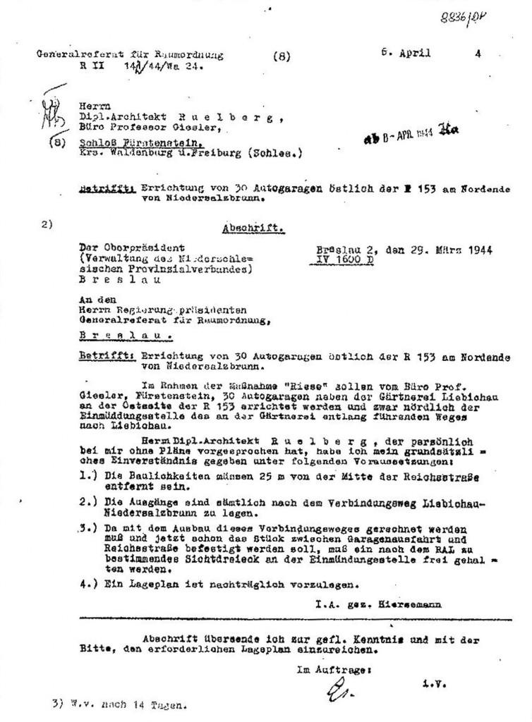 """Pismo w sprawie budowy 30 garaży w ramach zadania Riese - Źródło """"Zagłada Riese"""" R. Owczarek str. 258"""