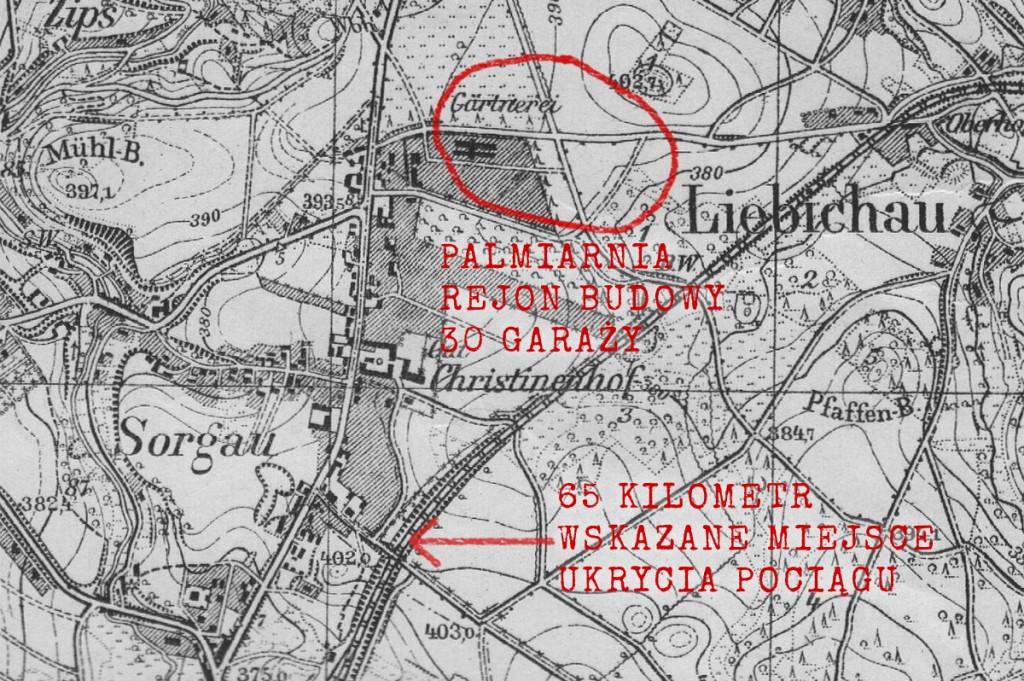 Garaże kompleksu Riese i wskazane miejsce ukrycia pociągu - Stara mapa z lat 30-tch XX wieku