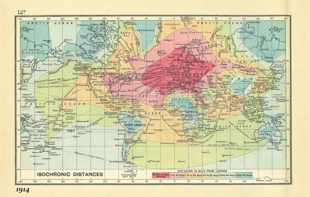 Czas podróży z Londynu - rok 1914