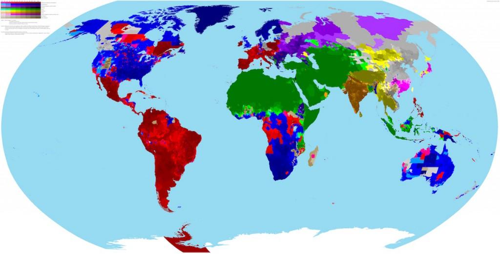 Mapa religii na świecie - Autor: Ryne Rohla