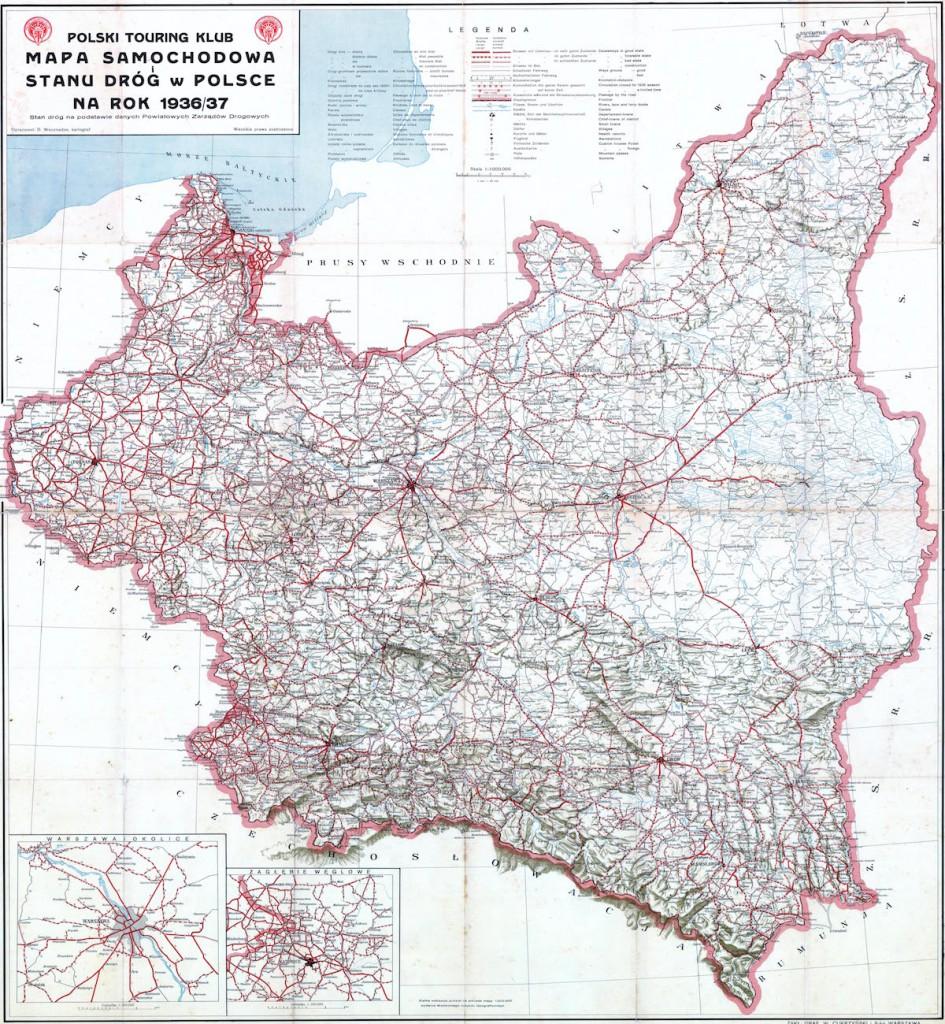 Mapa samochodowa Polski z 1936 roku - Źródło: touringklub.pl