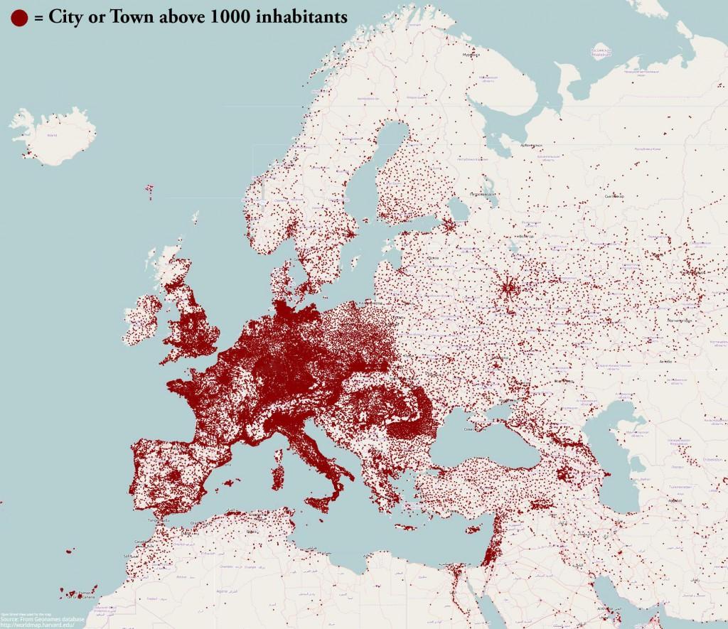 Europejskie miasta powyżej 1 tys. mieszkańców