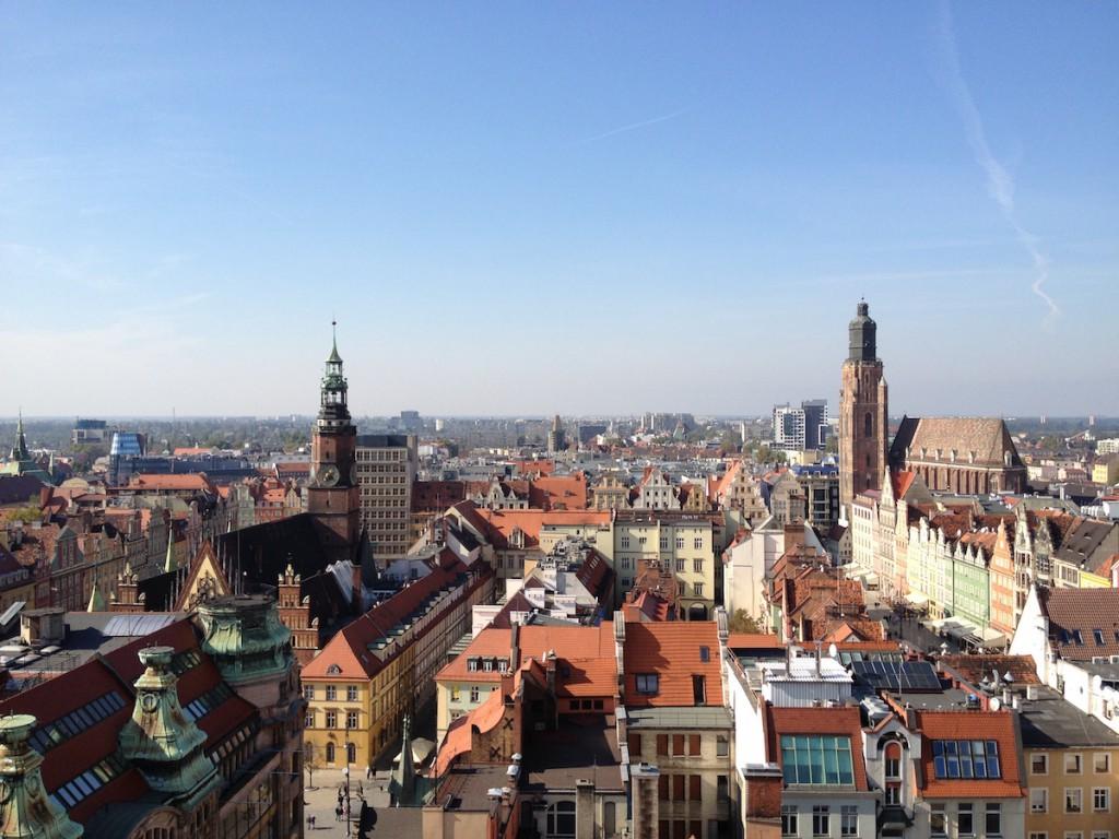 Widok z Mostku Czarownic na Rynek i Kościół Garnizonowy