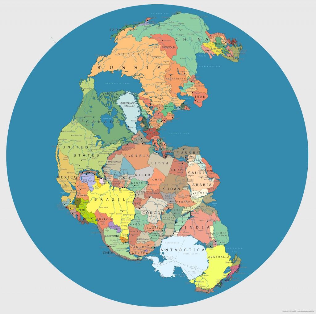 Pangea z podziałem politycznym - Autor: Massimo Pietrobon Źródło: capitan-mas-ideas.blogspot.com.es