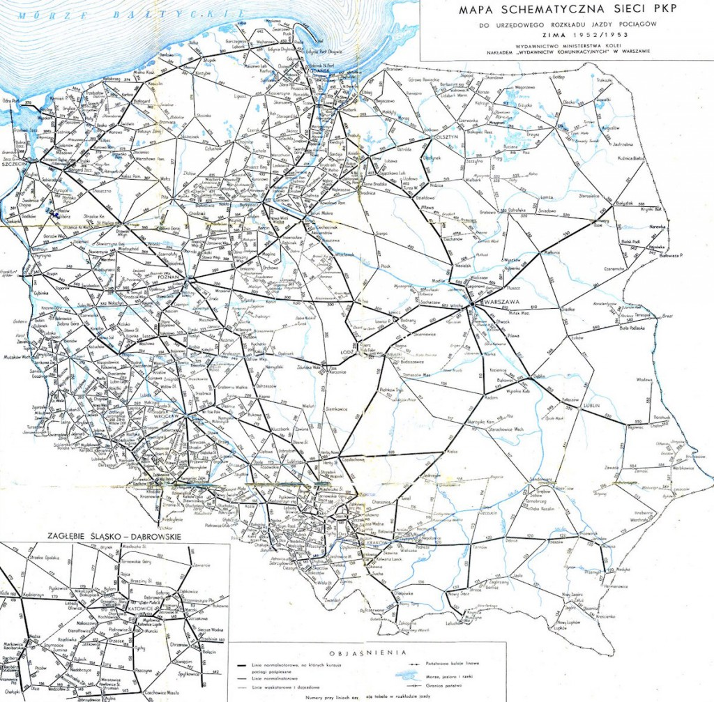 Mapa Kolejowa Polski z 1952 Roku - 10 Fascynujących Historycznych Map Polski