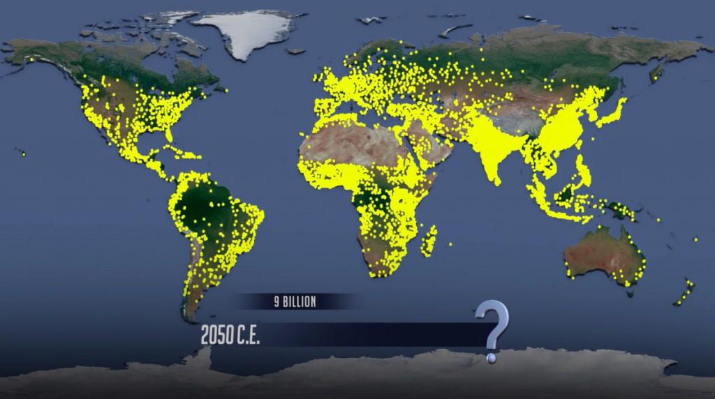 Animacja Rozwoju Populacji Ludzkiej - Prognoza Rok 2050 - Źródło: vimeo.com