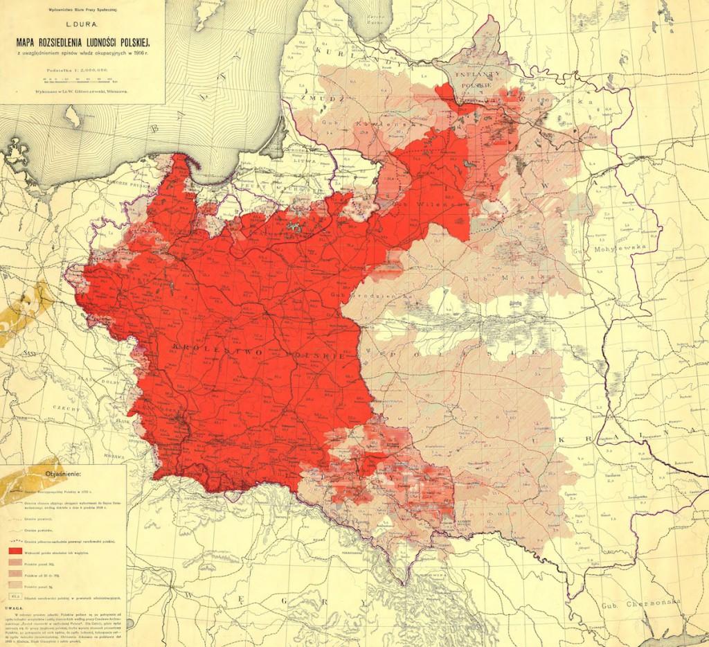 Mapa ludności polskiej z 1916 roku - 10 Fascynujących Historycznych Map Polski