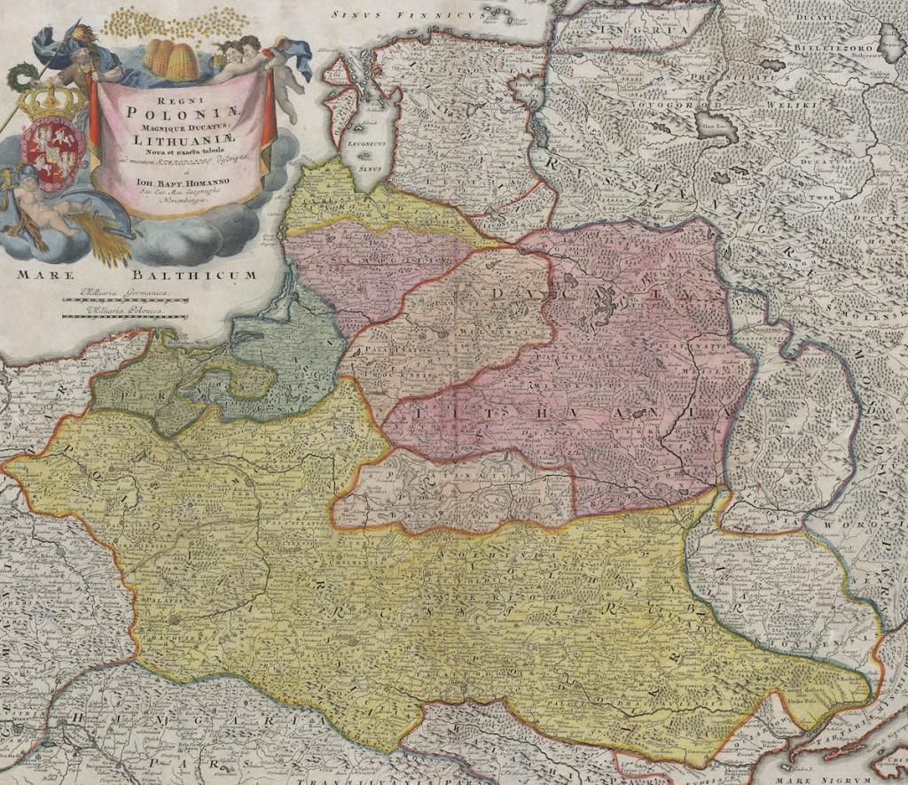 Mapa Rzeczpospolitej Obojga Narodów z 1715 roku - Źródło: polona.pl / Biblioteka Narodowa