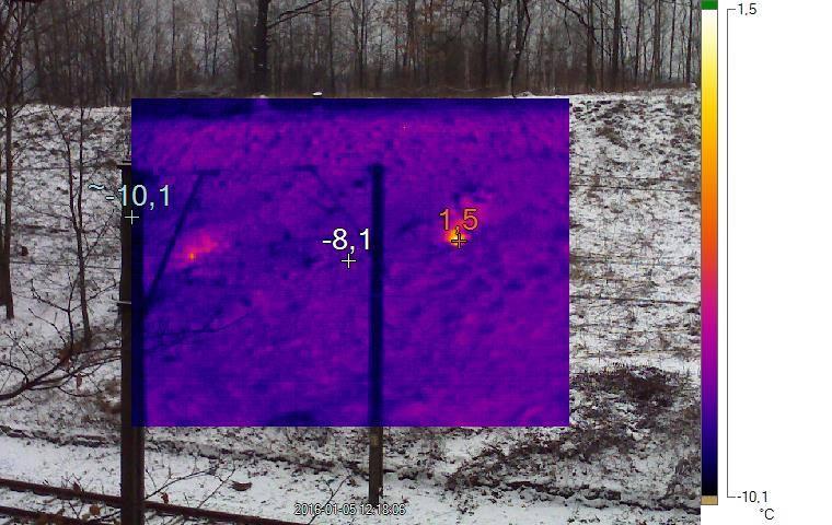 Zdjęcie termograficzne nasypu i anomalie termiczne - Foto: Michał Banaś