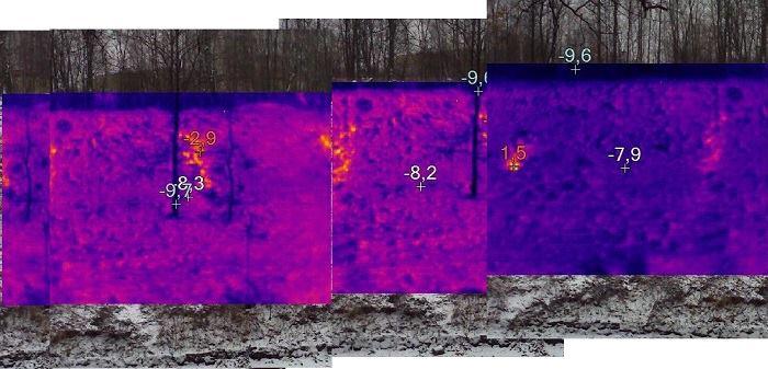 Panorama złożona z kilku ujęć, widać regularnie rozłożone anomalie - Foto: Michał Banaś