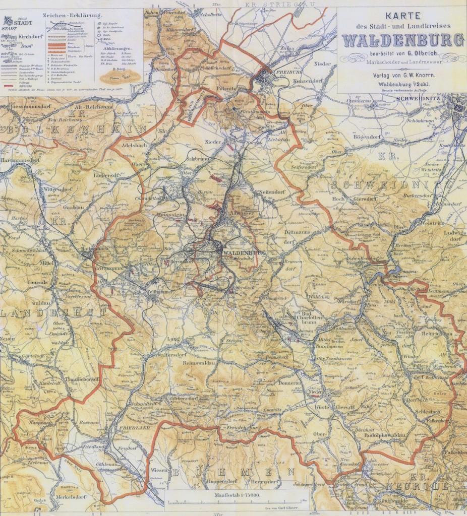Stara mapa Wałbrzycha - Autor: Gustav Olbrich