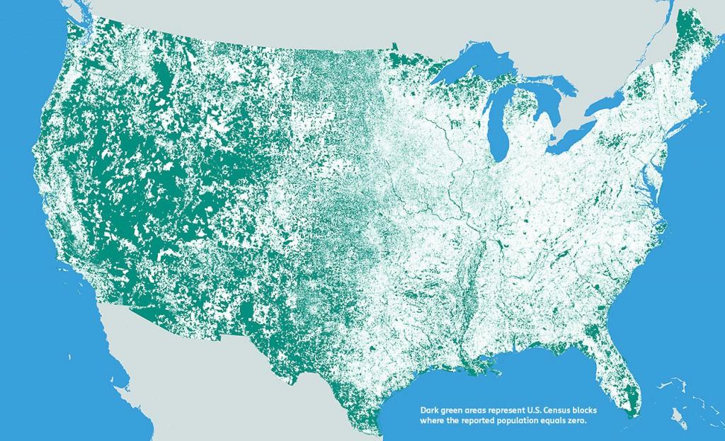 W USA na zielonym obszarze nie ma ludności - Źródło: mapsbynik.com