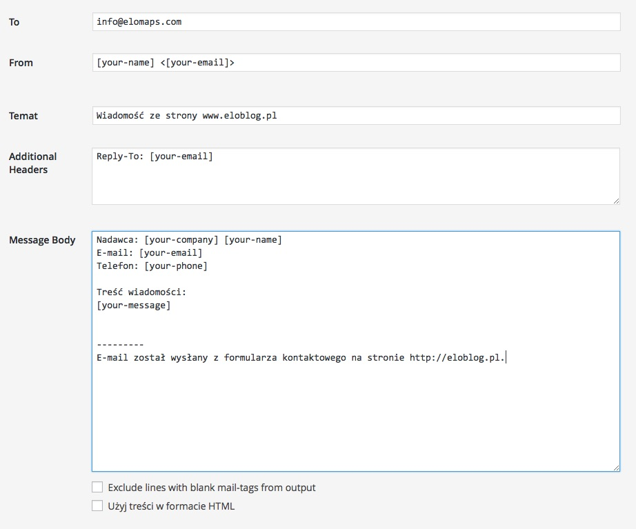 Budowanie formularza kontaktowego w WordPressie - Contact Form 7