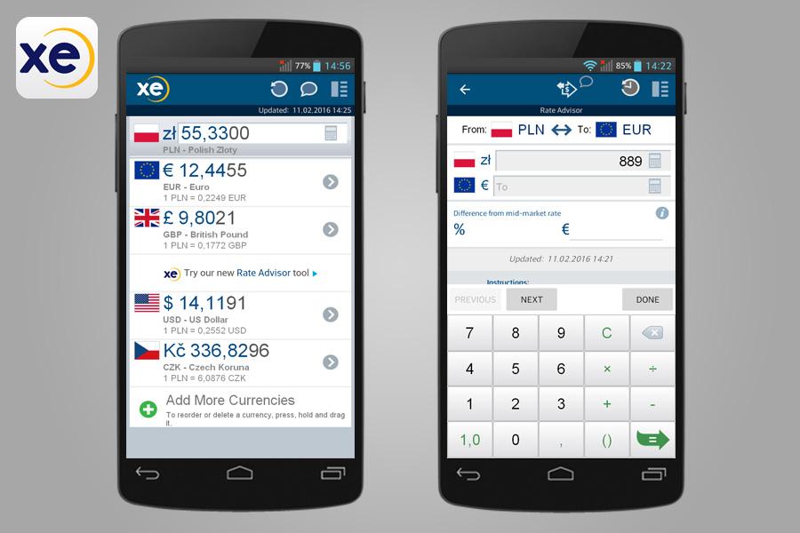 XE Currency - 14 aplikacji przydatnych w turystyce za granicą