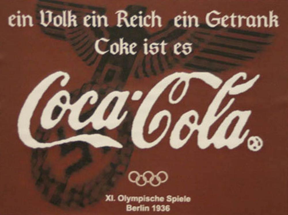 Szyderczy falsyfikat reklamy Coca-Caoli, nawiązujący do dawnej historii koncernu