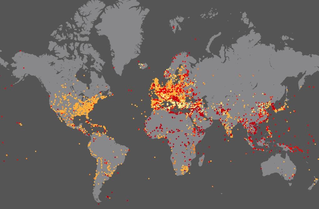 Wszystkie bitwy w historii świata na jednej mapie - Źródło: nodegoat.net