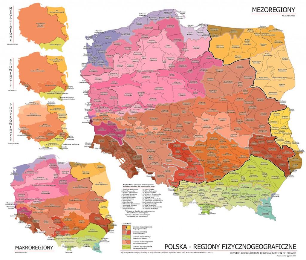 Mapy Regionów Fizycznogeograficznych w Polsce - Źródło: pl.wikipedia.org Autor: Qqerim