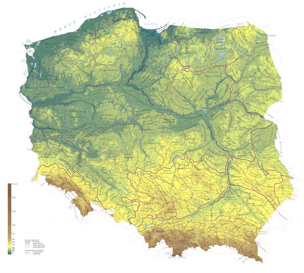 Mapa regionów Polski na tle rzeźby terenu - Źródło: pl.wikipedia.org Autor: Aotearoa