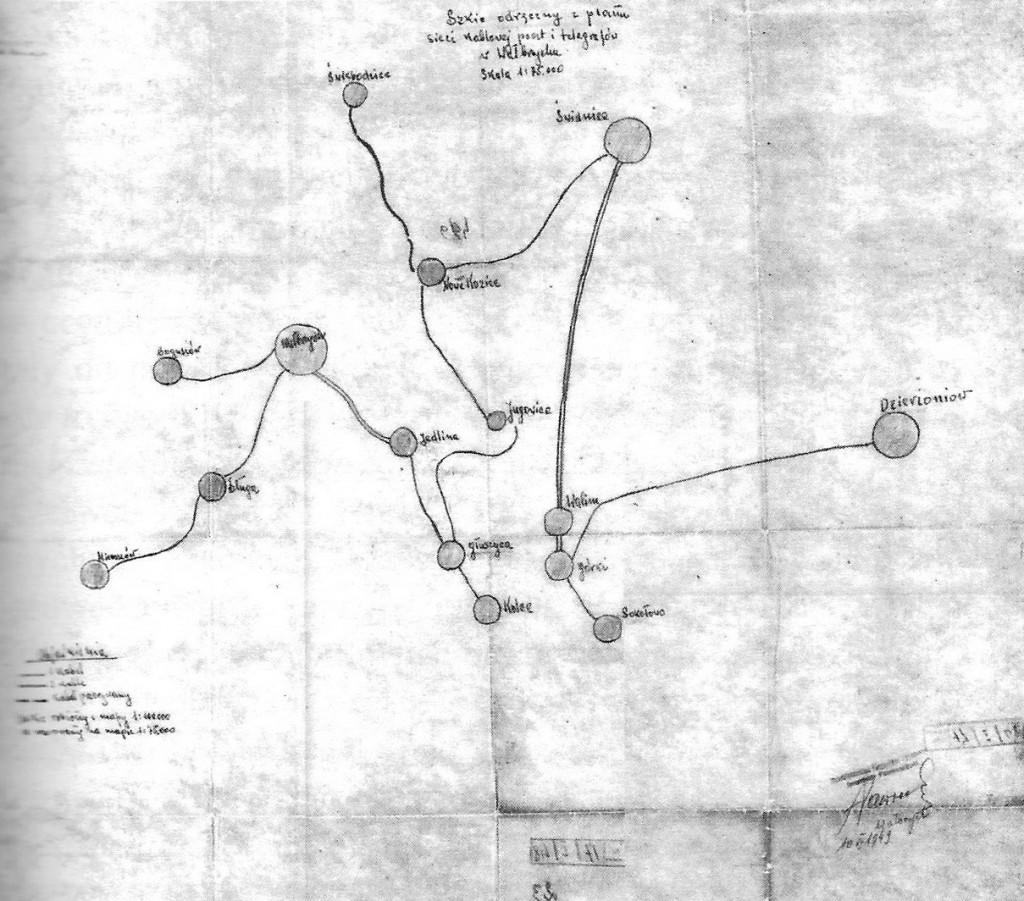 Mapa niemieckiej sieci telekomunikacyjnej w Górach Sowich - Tajemnica Riese J. M. Kowalski, R. J. Kudelski, Z. Rekuć str. 95