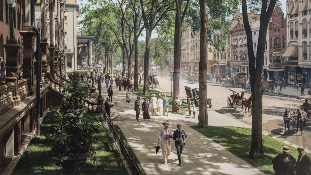 Spacer po ulicach Saratoga Springs - Świat na 10 kolorowych starych zdjęciach - Autor: Sanna Dullaway