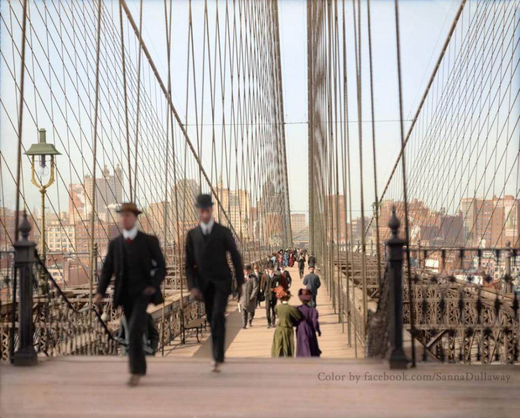 Spacer po Brooklyn Bridge - Świat na 10 Kolorowych Starych Zdjęciach - Autor: Sanna Dullaway