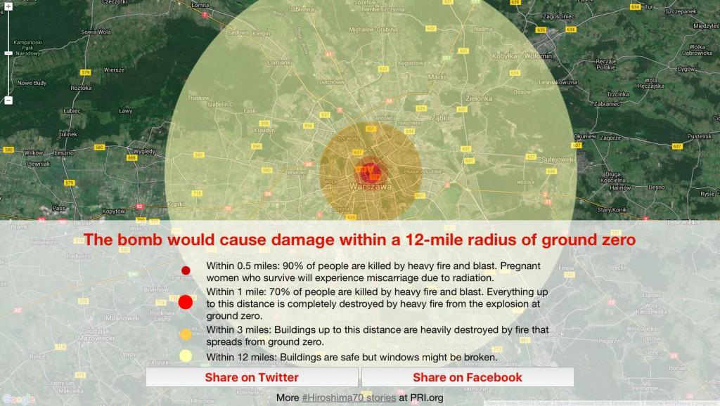 Symulator Wybuchu Bomby Little Boy w Warszawie - Źródło: admin.pri.org