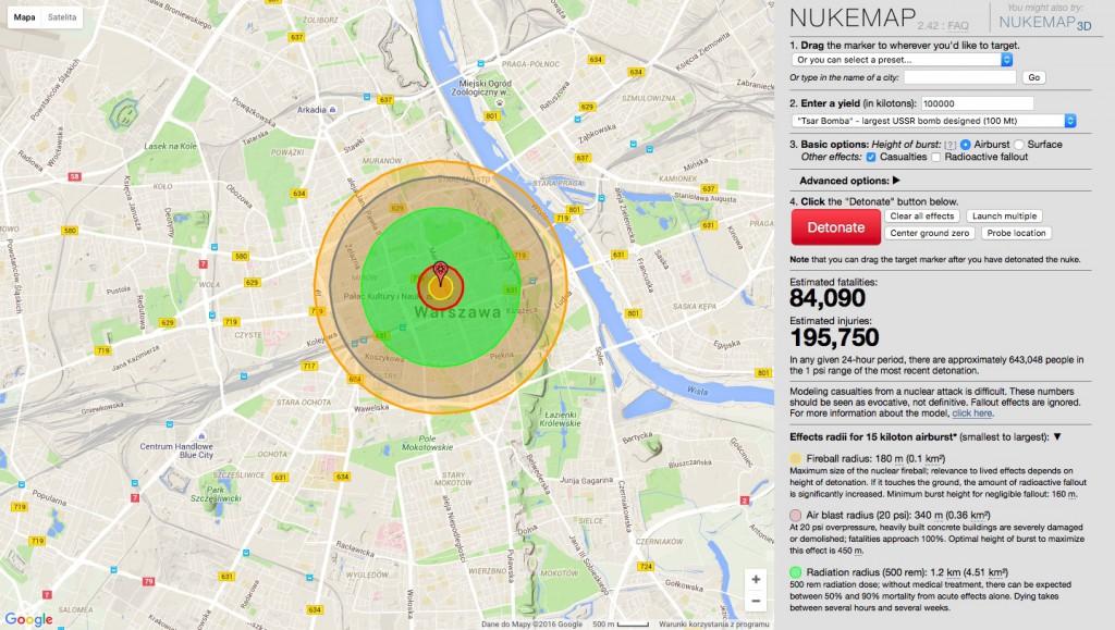 Symulator wybuchu bomby Little Boy w Warszawie - Źródło: nuclearsecrecy.com