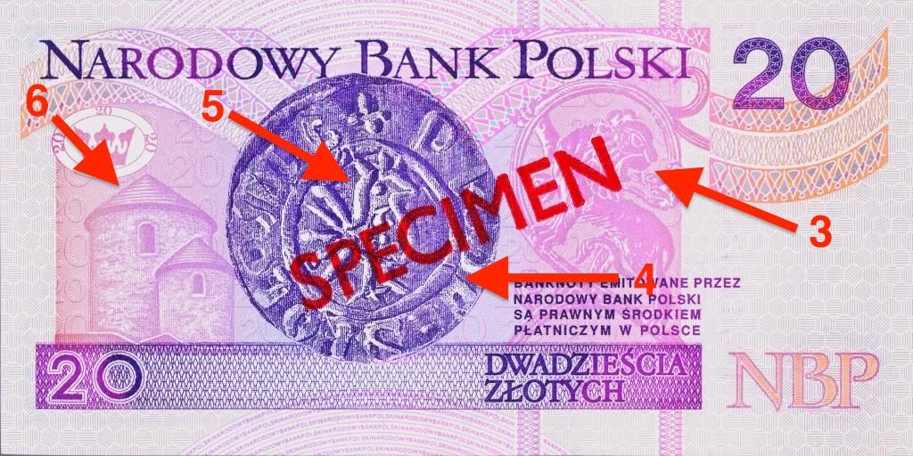 Banknot 20 zł - Ukryte symbole i miejsca na polskich banknotach - Źródło: NBP