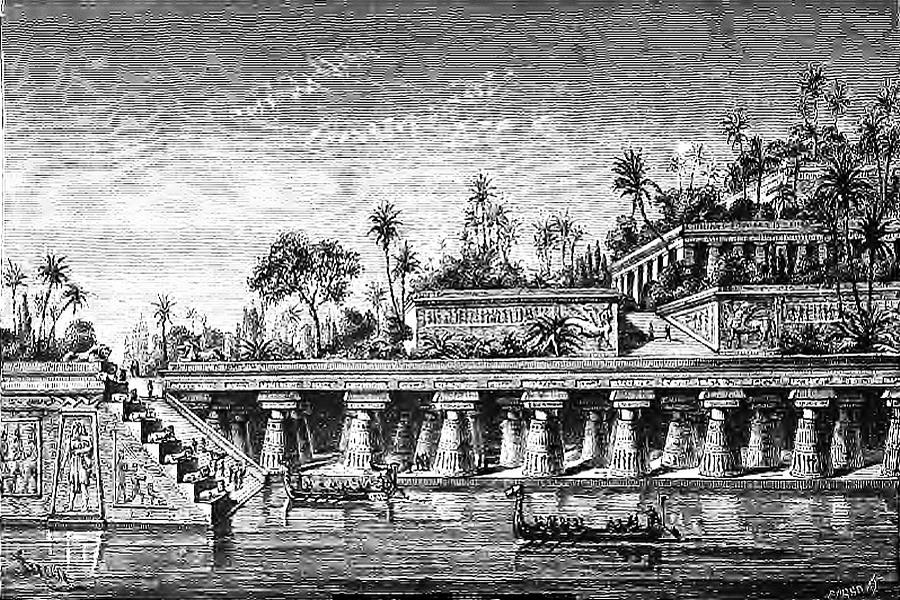 Wiszące Ogrody Semiramidy w Babilonie - 7 Cudów Starożytnego Świata - Wizualizacja z XIX w.