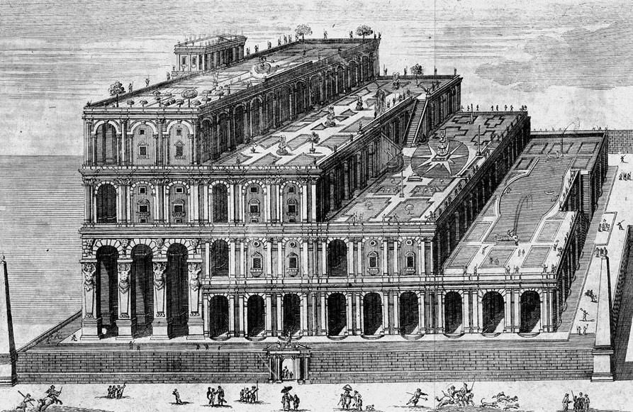 Kolejne z wyobrażeń Wiszących Ogrodów Semiramidy w Babilonie - Wizualizacja z XVIII w.