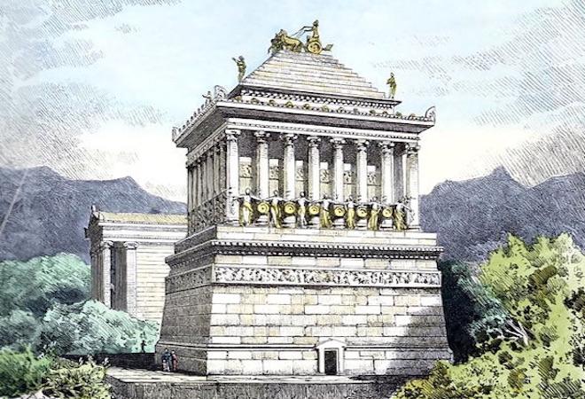 Mauzoleum w Halikarnasie - 7 Cudów Starożytnego Świata - Wizualizacja z XIX w.