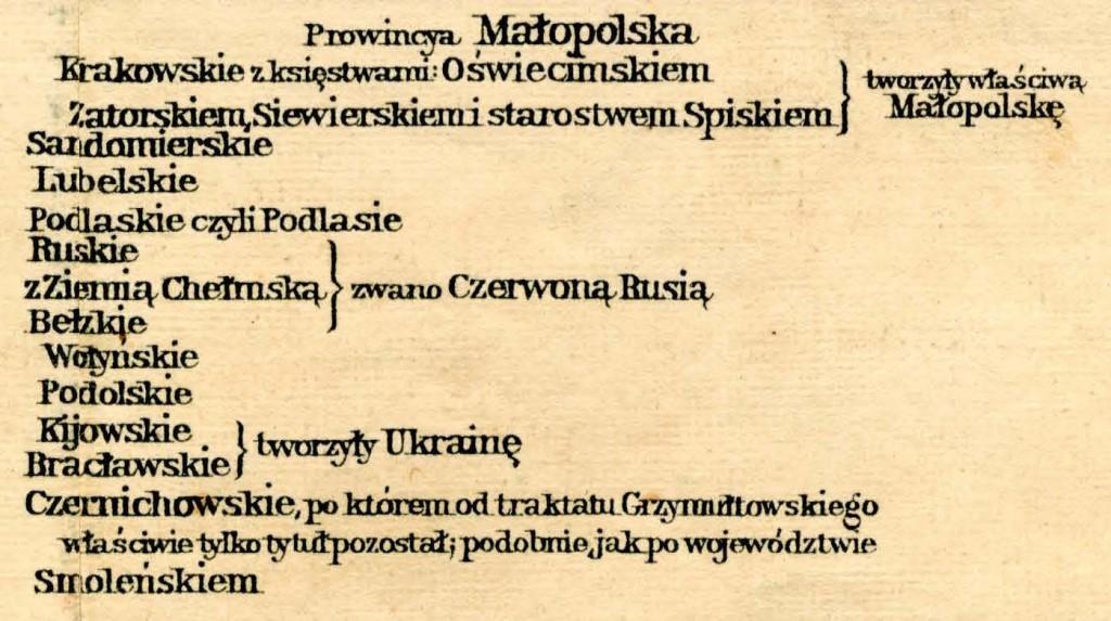 Podział Prowincji Małopolskiej