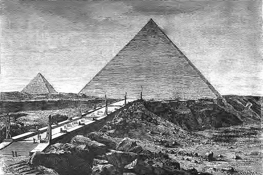 Wielka Piramida Cheopsa w Gizie - 7 Cudów Starożytnego Świata - Rycina z XVIII w.