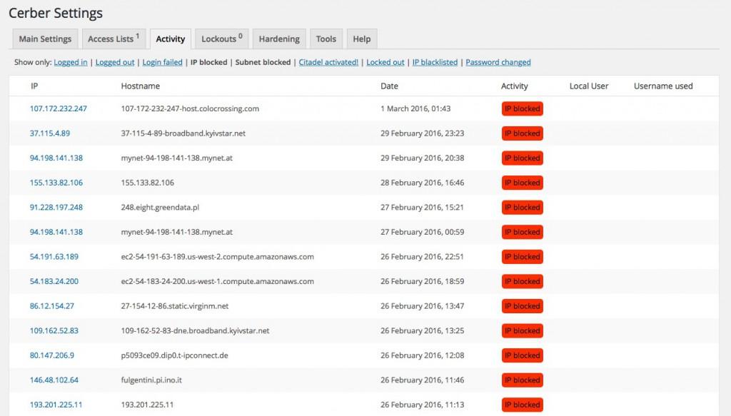 Przykładowa lista zablokowanych adresów IP - WP Cerber
