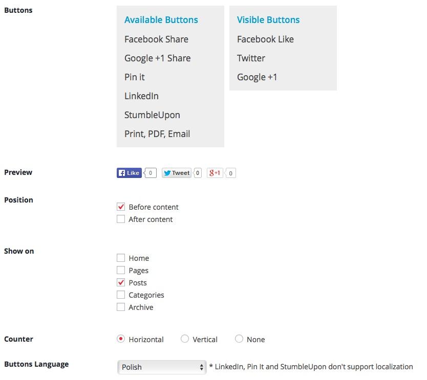 Bardzo prosta wtyczka do przycisków społecznościowych - WordPress Social Ring