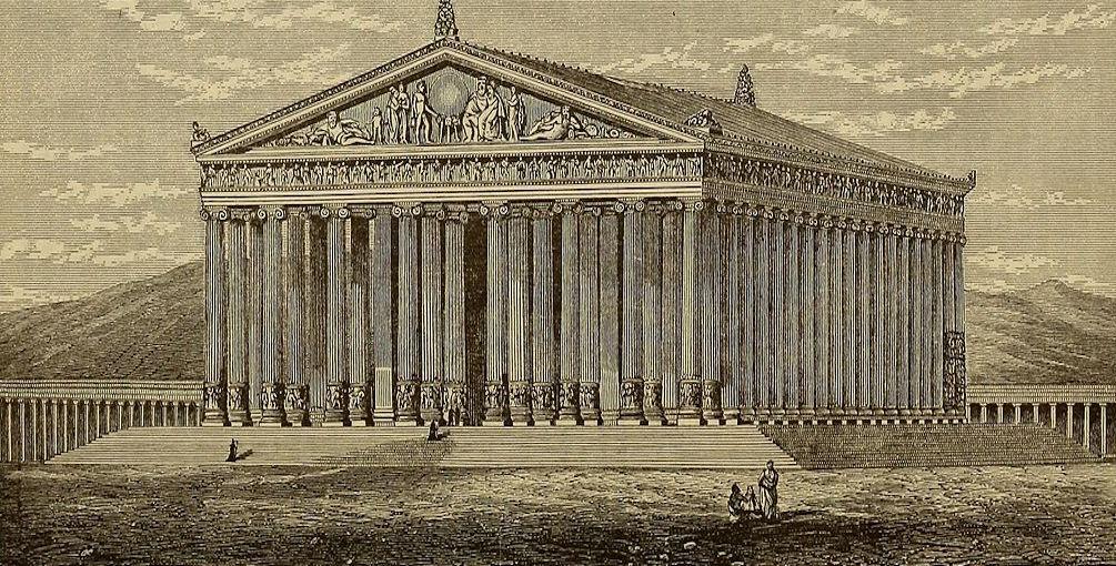 Świątynia Artemidy w Efezie - 7 Cudów Starożytnego Świata - Wizualizacja z XIX w.