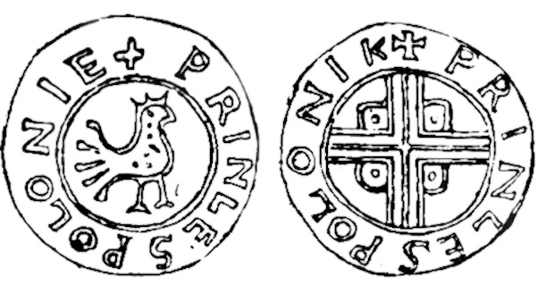 Pkt. 4, 5 - Denar Bolesława Chrobrego PRINCES POLONIE