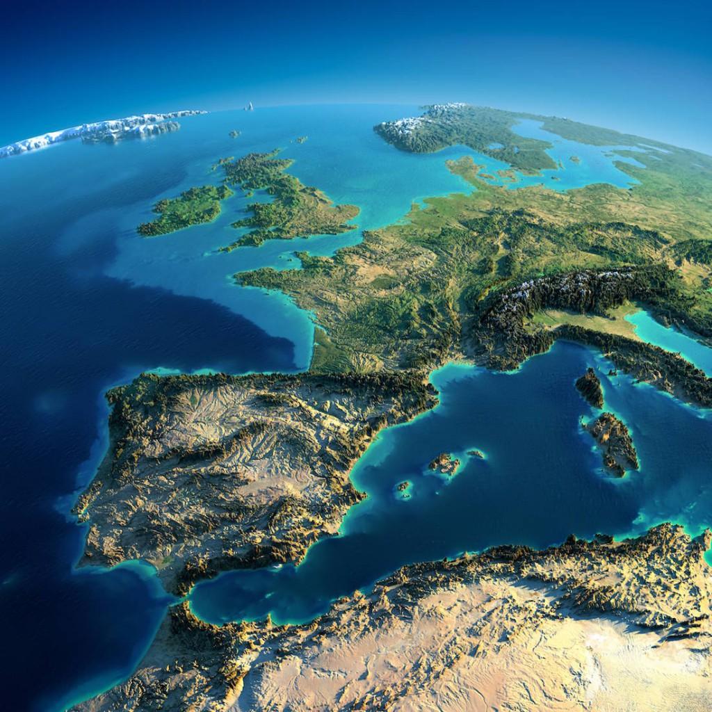 Model Terenu Europy Zachodniej - Źródło: Anton Balazh / NASA