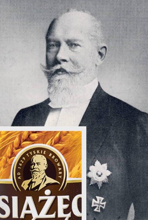 """Jan Henryk XI von Hochberg i fragment etykiety piwa """"Książęce"""" z jego wizerunkiem - Zbiory: Fundacja Księżnej Daisy von Pless"""