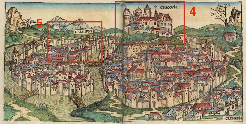 Pkt. 4, 5 - Panoramy Krakowa i Kazimierza - Źródło: Liber Chronicarum