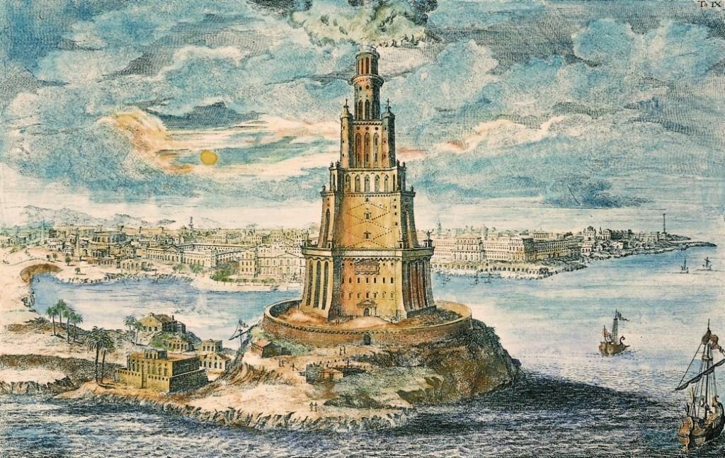 Latarnia Morska na Faros - 7 Cudów Starożytnego Świata - Wizualizacja z XVIII w.