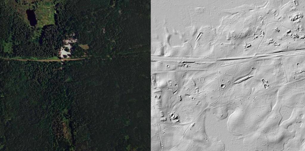 Zabudowania Wilczego Szańca - 10 ukrytych niezwykłych miejsc w Polsce - Źródło: Geoportal