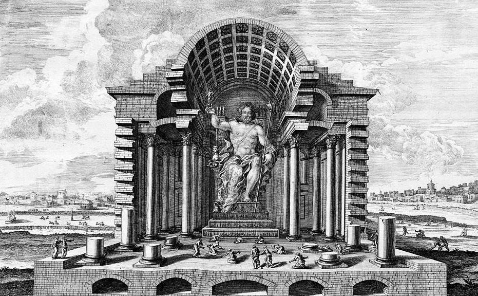 Posąg Zeusa w Olimpii - 7 Cudów Starożytnego Świata - Wizualizacja z XVIII w.