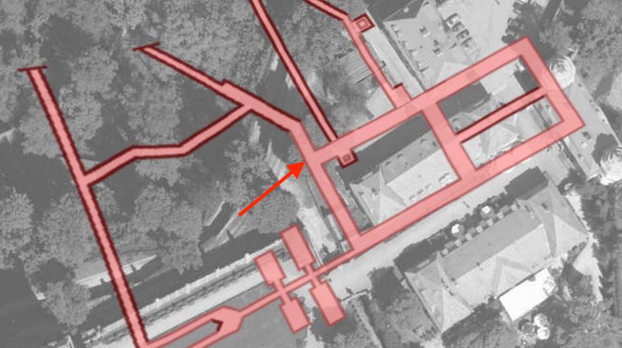 Miejsce wykonania wierceń - Lokalizacja ukrytych fragmentów według wspomnień Weissa i Sitkowskiego