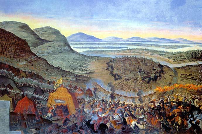 Obraz Bitwa pod Wiedniem - W lewym górnym rogu znajduje się Kahlenberg, u dołu oblężony Wiedeń - Autor: Franz Geffels