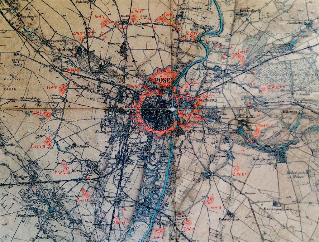 Mapa Twierdzy Poznań z zaznaczonym obiektami twierdzy poligonalnej (w środku) i fortowej (na zewnątrz) - Foto: zbiory Fort Va