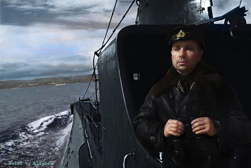 Admirał Nikolai Lunin na łodzi podwodnej klasy K-21, bohater Związku Radzieckiego, rok 1942