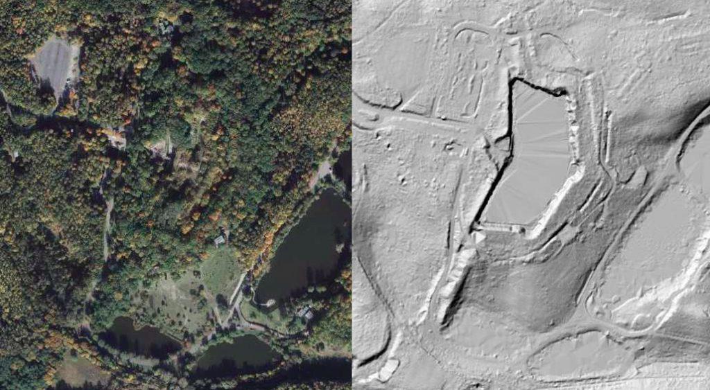 Fort III na zdjęciu satelitarnym (na lewo) i obrazie LIDAR (na prawo) - Źródło: geoportal.gov.pl