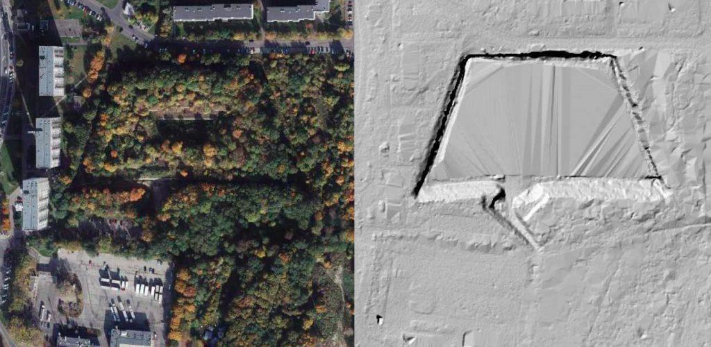 Fort Va na zdjęciu satelitarnym (na lewo) i obrazie LIDAR (na prawo) - Źródło: geoportal.gov.pl