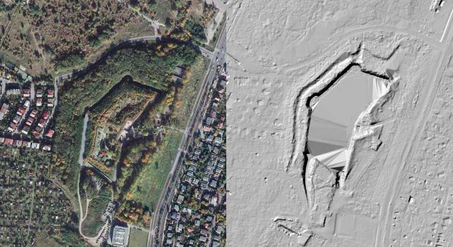 Fort VII na zdjęciu satelitarnym (na lewo) i obrazie LIDAR (na prawo) - Źródło: geoportal.gov.pl